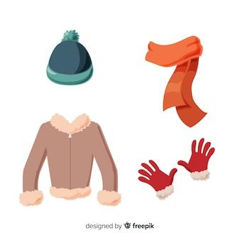 Плоская зимняя одежда и предметы первой необходимости Premium векторы