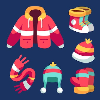 평평한 겨울 옷과 필수품