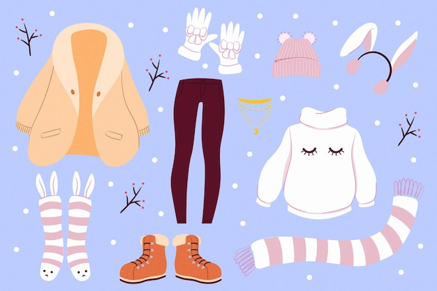 Flat winter clothes and essentials collection