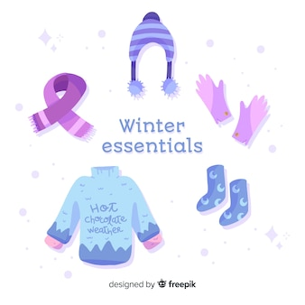 Flat winter clothes and essentials