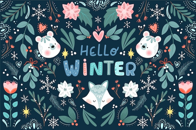 Flat winter floral background