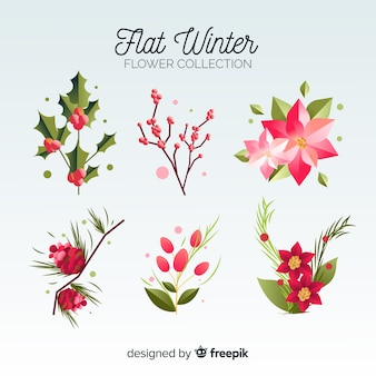 Flat winter flowers collection