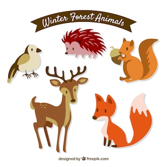 Flat winter forest animals set