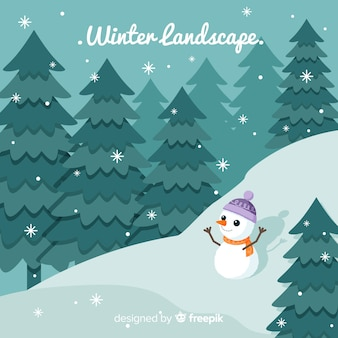 Flat winter landscape background