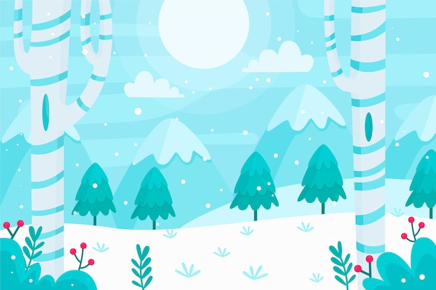 Flat winter landscape illustration