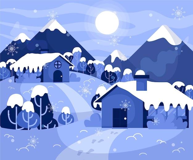 평평한 겨울 풍경