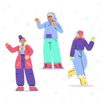 平らな冬の人々のコレクション
