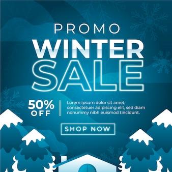 Sfondo di vendita invernale piatto