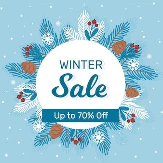 Flat winter sale background