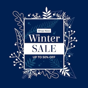 Flat winter sale background