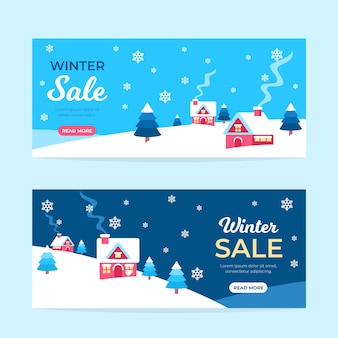 Flat winter sale banners collection