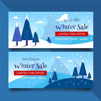 Плоские зимние распродажи баннеры со снегом и деревьями