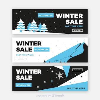 Flat winter sale banners