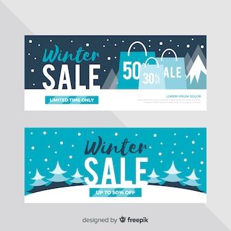 Bandiere di vendita inverno piatto Vettore gratuito