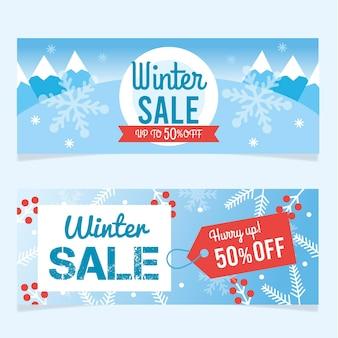 Плоские зимние распродажи баннеры
