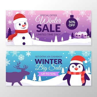 Flat winter sale banners
