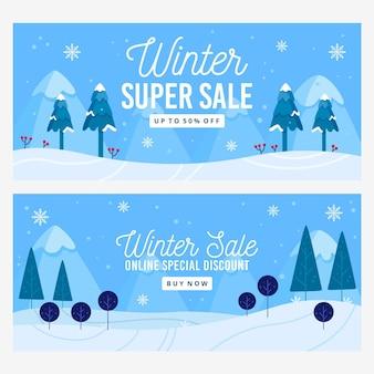 Banner di vendita invernale piatto