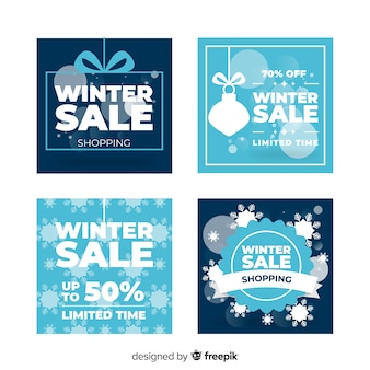 Flat winter sale cards set