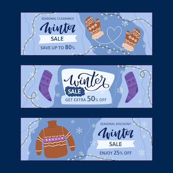 Flat winter sale horizontal banners pack