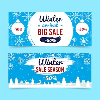 Набор плоских зимних распродаж горизонтальных баннеров