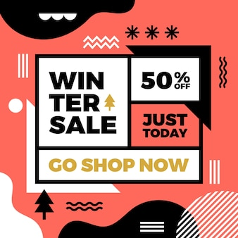 Flat winter sale instagram post