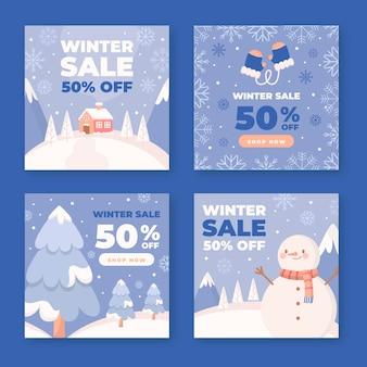 Collezione di post instagram di vendita piatta invernale