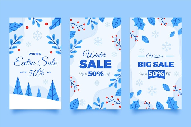 Flat winter sale instagram stories collection