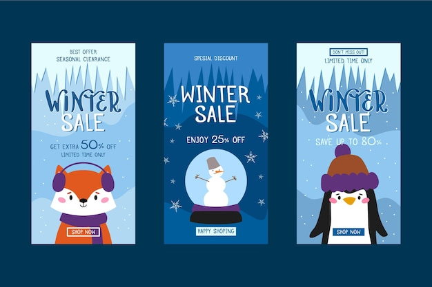 Storie di social media di vendita invernale piatta