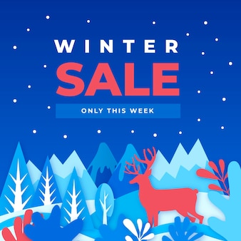 Flat winter sale with reindeer in the night