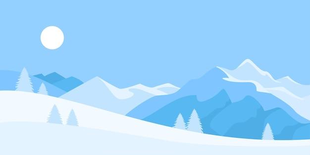 산과 평평한 겨울 눈 덮인 풍경