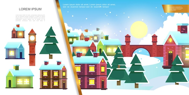 Flat winter town landscape  with colorful houses  illustration