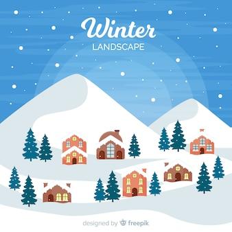 Flat winter town landscape