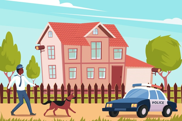 家の前に警察官の犬と車でフラット