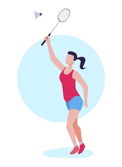 Flat woman badminton player striking shuttlecock