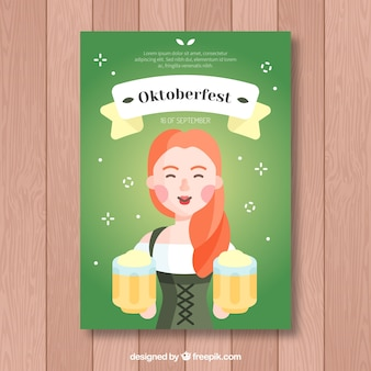 Flat woman and beers in the oktoberfest