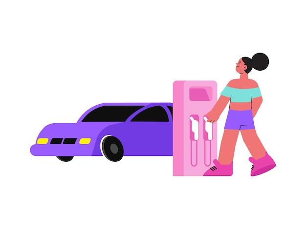 Flat woman character at petrol station