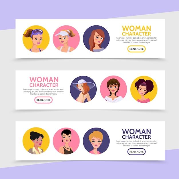 平らな女性のキャラクターのアバターは、さまざまな髪型の女性と女の子の水平バナーです