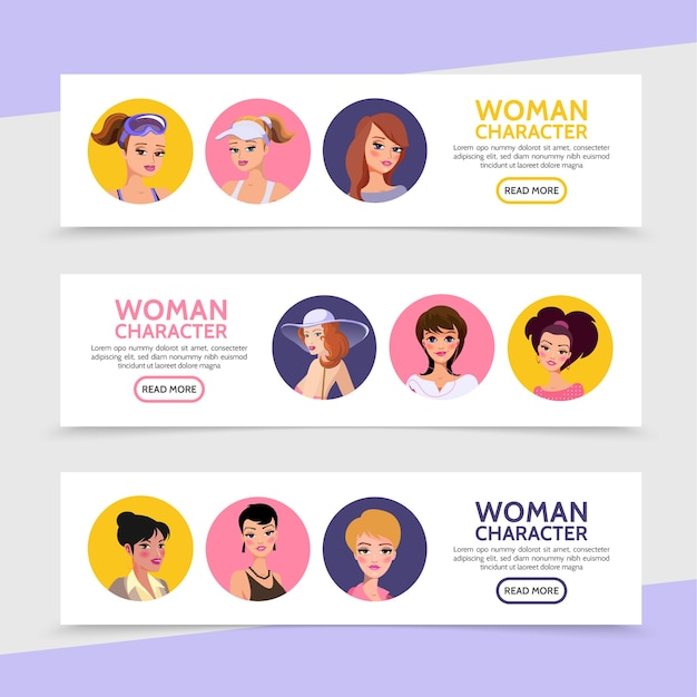 Personaggi di donna piatta avatar banner orizzontali con donne e ragazze con acconciatura diversa