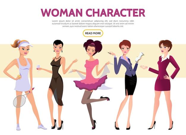 Flat woman characters set with sportswoman secretary businesswoman ladies