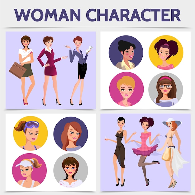 Concetto quadrato di caratteri di donna piatta