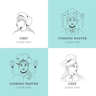 플랫 여자 요리사 로고 컬렉션