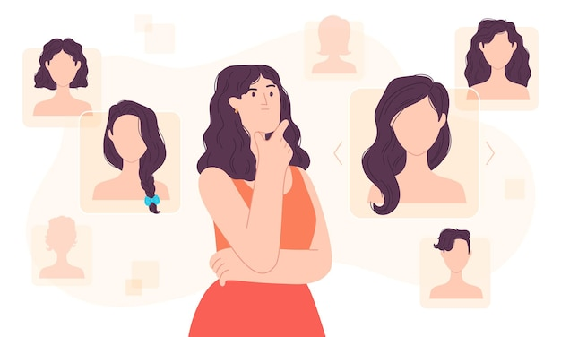 フラットな女性は、デジタル空間でヘアスタイルを選択します。スタイリスト決定ヘアカットアプリ。フローティングサイバー画面ベクトルの概念の女の子の髪型の選択。髪型の異なるオンライン美容院