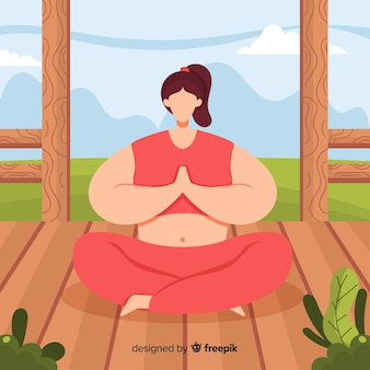 Flat woman enjoying the meditation