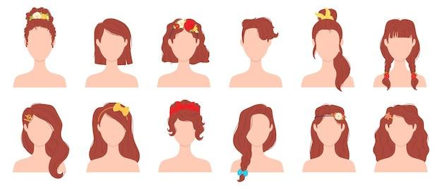 꽃, 리본, 활 액세서리가 있는 평평한 여성 헤어스타일. 머리핀, 넥타이, 밴드가 있는 젊은 여성 이발. 여자 헤어스타일 벡터 세트