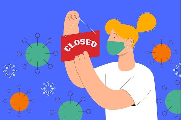Donna piatta che appende un cartello chiuso