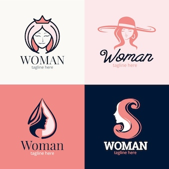 Flat woman logo collection