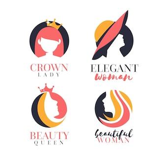 フラットな女性のロゴコレクション
