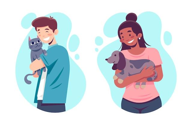 Donna piatta e uomo con animali domestici