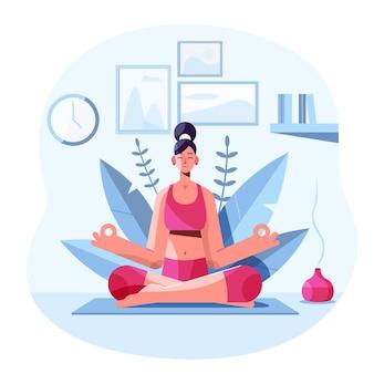 屋内で瞑想する平らな女性