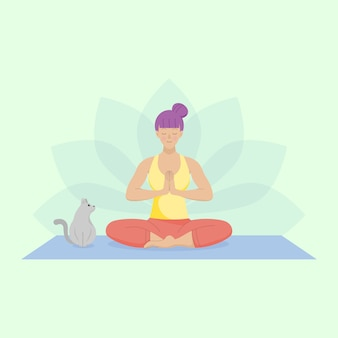 Flat woman practicing easy yoga.